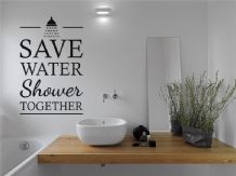 "Bathroom Wall Art Quote ""Save On Water Shower Together"" Modern Wall Sticker"